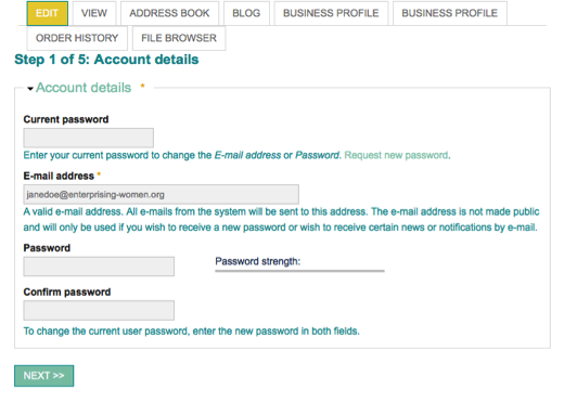 Step 1 of 5: Account Details