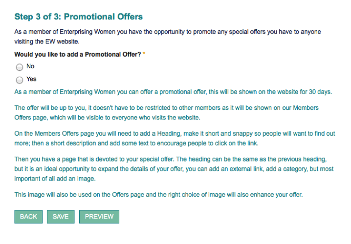 Step 3 of 3: Promotional Offers